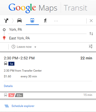 image of Google Transit directions panel
