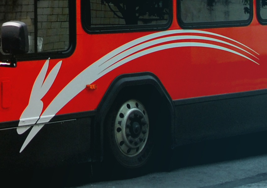 closeup of rabbitransit bus and wheel well