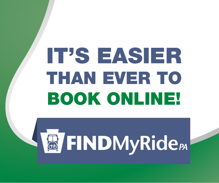 find my ride pa with text it's easier than ever to book online. Click to go to a page to learn more about FindMyRidePA