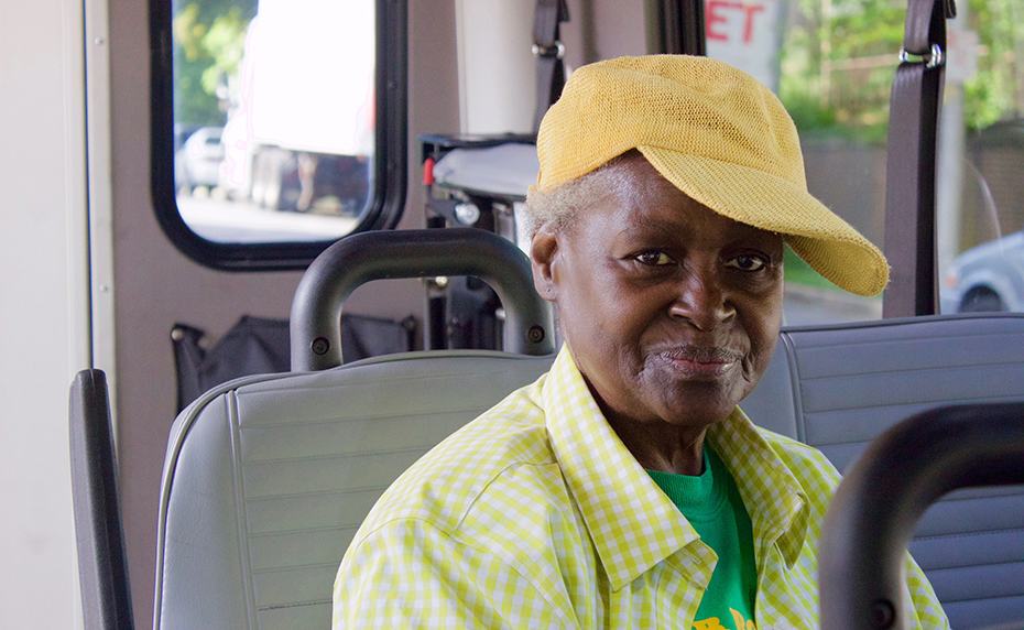 paratransit passenger on a vehicle