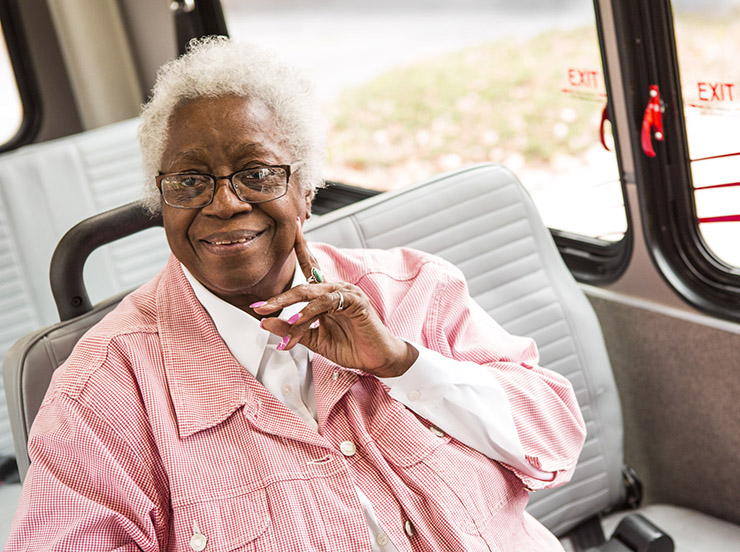 paratransit passenger on vehicle