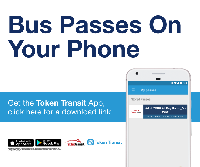 token transit ad for purchasing passes Click to get the token transit app and be directed to a download link
