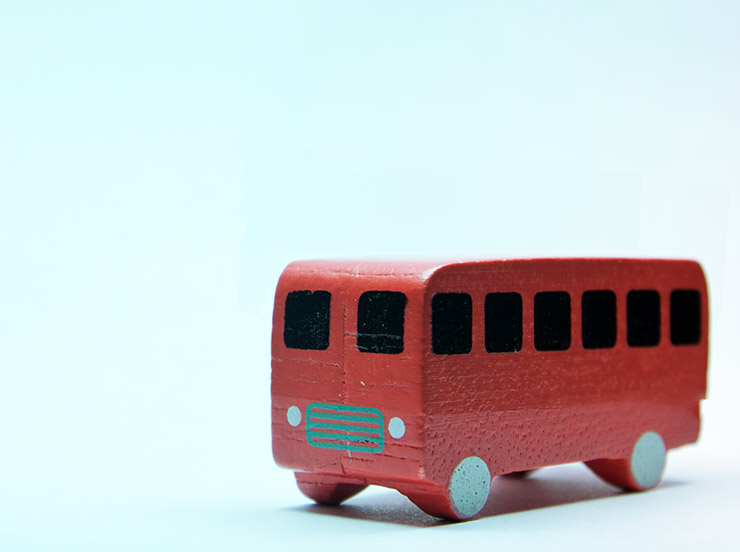 wooden red toy bus