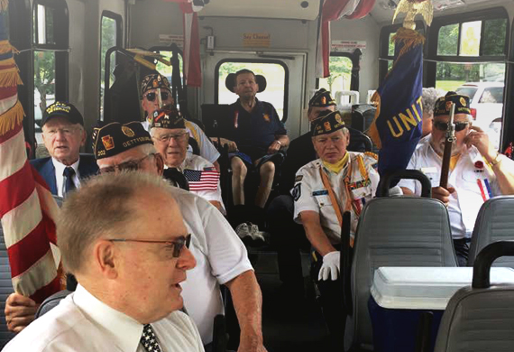 veterans on public transportation vehicle