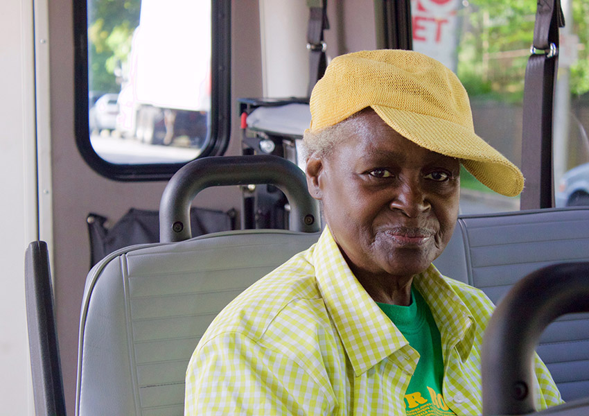 woman on paratransit vehicle
