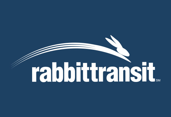 rabbittransit logo with a blue background