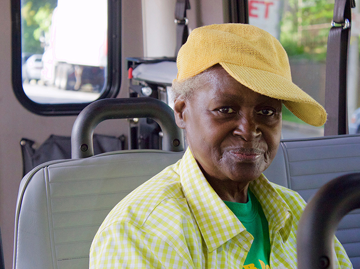 female senior rider on paratransit vehicle